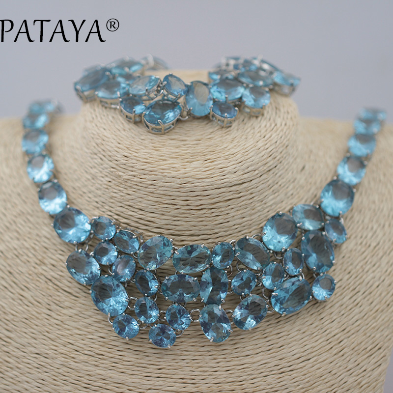 PATAYA New Arrivals Blue Natural Artificial Zirconia Bracelets Necklaces Set Original Design Women True White Gold Jewelry SetsPATAYA New Arrivals Blue Natural Artificial Zirconia Bracelets Necklaces Set Original Design Women True White Gold Jewelry Sets