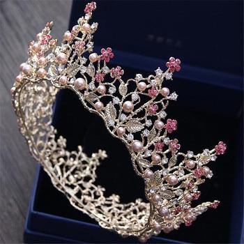 Mamojko Baroque Leaf Imitation Pearl Princess Bridal Crowns Drop Tiaras For Woman Flower Noble Wedding Jewelry Hair Accessories 1