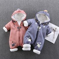 Winter Newborn Boys Girls Romper Cartoon Hooded Clothes Infant Boys Girls Cotton Warm Jumpsuit Children Thick Cute Overall Q148