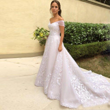 lamiabridal A-line Wedding Dresses Sleeves Chapel Train
