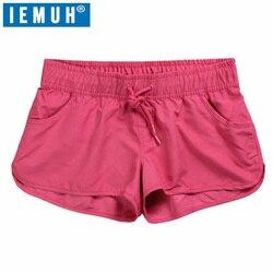 Iemuh short de praia feminino de secagem rápida, calção de natação para mulheres, curto, atletismo, corrida, academia
