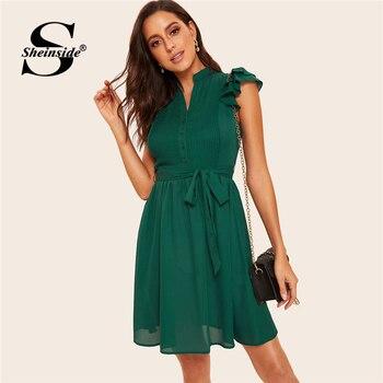 af4ced417d3c Sheinside verde botón volantes a capas vestido plisado con cinturón de 2019  V cuello Vintage vestidos de las señoras de las mujeres corto vestido de ...