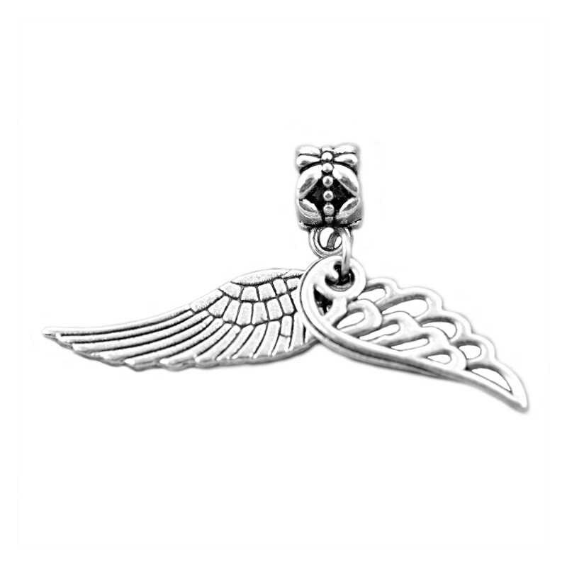 Posrebrzane Rose, skrzydła anioła, serca, motyl wisiorki Charms Fit Pandora koralik Charm bransoletki DIY tworzenia biżuterii, SPP153