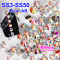 Ss3-ss50 nail art strass cristal ab vidro não hot fix plano voltar pedrinhas para unhas telefone diy decoração b2009