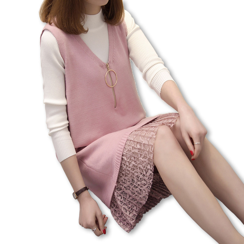 Women Casual Knitting Suits Ladies Elegant Office Knitted Tops and Dress 2 Piece Set Sweater + Lace Hem Vest Dresses Plus Size