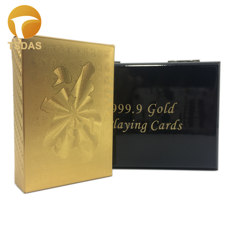 FU Design Games Gold Playing Cards 54PCS/set, Plastic Cards Poker Gambling Cards With Gift Box & Certificate Free Shipping