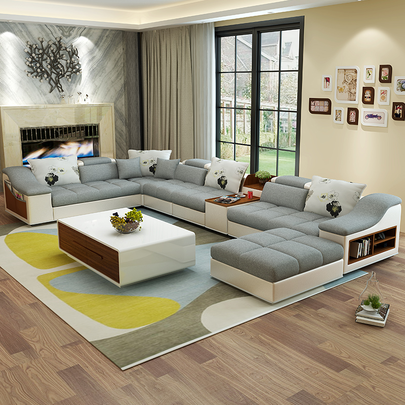living room furniture modern U shaped leather fabric corner