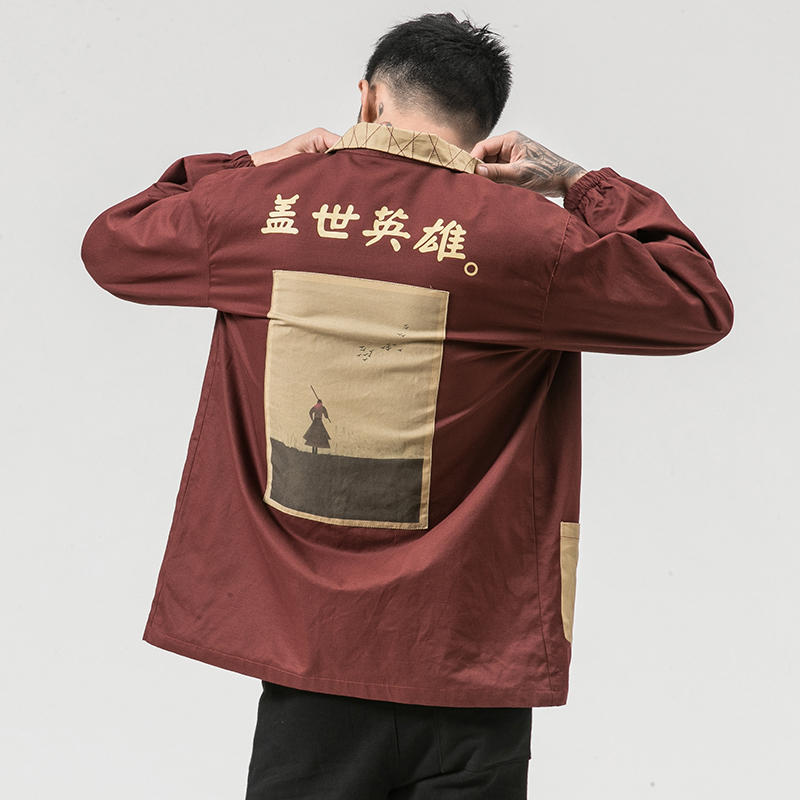 MR-DONOO MRDONOO Windbreaker long section print shirt autumn loose retro Chinese