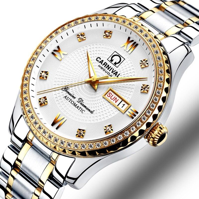 Karnaval İzle erkekler otomatik mekanik marka lüks erkekler saatler aydınlık safir reloj hombre su geçirmez erkek izle C-8629-7