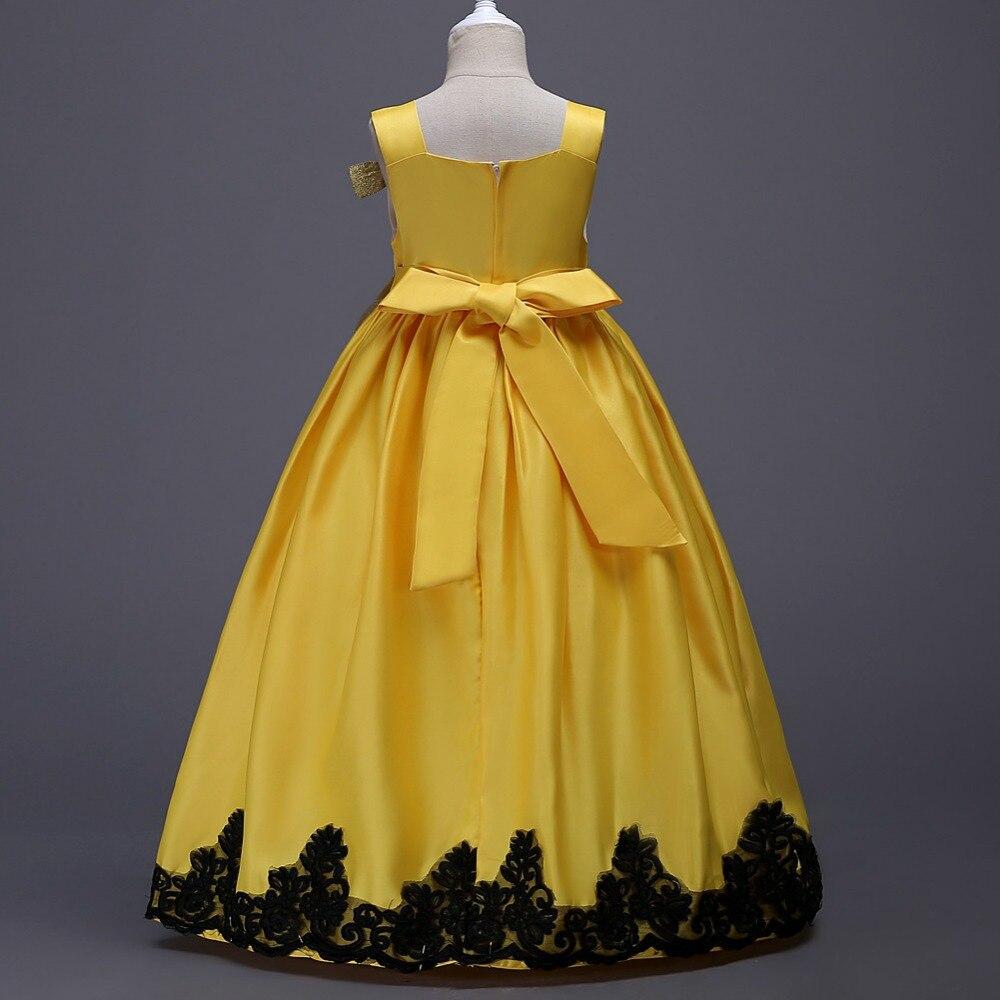 Купить с кэшбэком OTISBABY Girls Silk Harness Wedding Dress for Girl Children Prom Occasion Clothing Kids Embroidered Flower Princess Long Dress