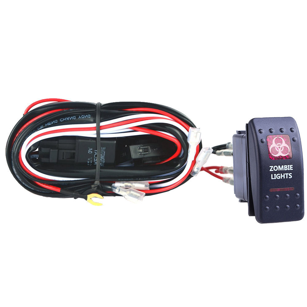 EE support 40A 300W Wiring Harness Kit LED Light Bar Rocker Switch Red Light Fuse Zombie ee support 40a 300w wiring harness kit led light bar rocker switch