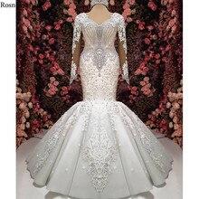 Настоящая фотография, Роскошные свадебные платья русалки 2020 без бретелек, с длинными рукавами и длинным шлейфом, с аппликацией из бисера, свадебные платья, Robe De Mariée
