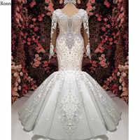 Real Photo Luxus Meerjungfrau Hochzeit Kleider 2020 Liebsten Mit Langen Ärmeln Lange Zug Appliques Perlen Brautkleider Robe De Mariée