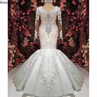 Real Photo Luxury Mermaid Wedding Dresses 2020 Strapless Long Sleeves Long Train Appliques Beaded Bridal Gowns Robe De Mariée