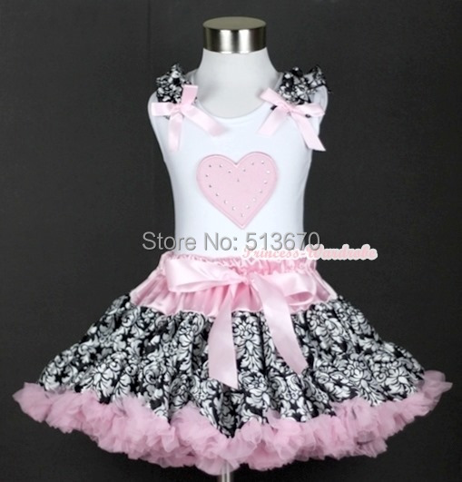 Light Pink Damask Rose Pettiskirt Dress Valentine Heart Ruffle Bow White Top 1-8Y MAPSA0228 valentine hot pink romantic rose heart