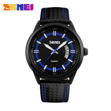 SKMEI Luxury Brand  Casual Watch Men Fashion Quartz Watches Men Leather Strap Waterproof Military Wristwatch Relogio Masculino