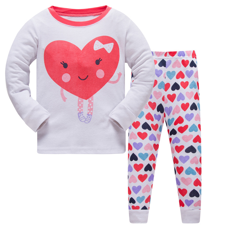 Fashion Children Autumn Pajamas Clothing Set Cartoon girls Sleepwear Suits Kids Long Sleeves Pant Children Home Clothes in Pajama Sets from Mother Kids