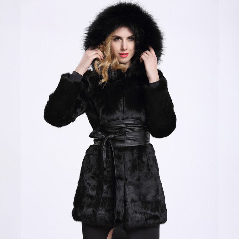 long Slim genuine rabbit fur coat  whole skin with fox fur collar hooded