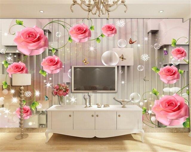 Pareti Rosa Camera Da Letto : Beibehang rosa vite d stereo striscia murale d carta da parati