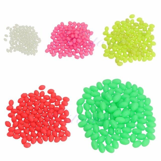 100 piezas ovaladas brillantes cuentas de pesca señuelo de pesca flotante 6 colores