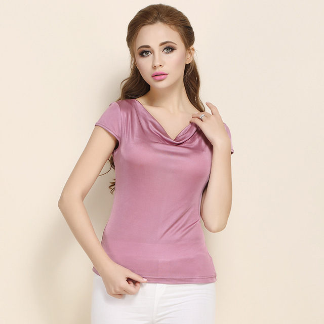 Summer Women 100% Real Silk T-shirt Casual Knitted Short Sleeve Shirts Comfortable Breathable Loose T-shirts Women Tops Tees1165