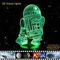 Novelty 3d luz de la noche llevó la lámpara de cabecera escritorio mesa lampe Lamparas de Star Wars R2-D2 Robot fresco USB Luz Nocturna Luminarias Para niños