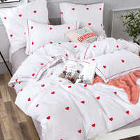 Alanna Solid Sweet style Little red Heart Flower Plant leaves and animals Printed 4/7pcs Bedding set with Different Color