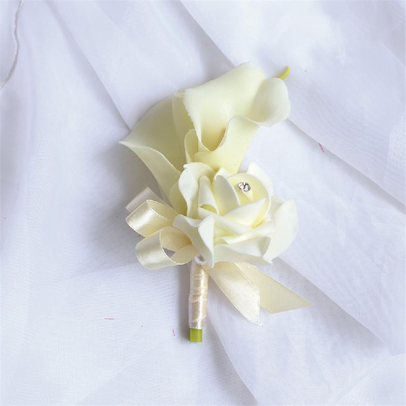 Prom 8pcs Fabric Boutonniere Artificial Rose Corsage Flower Wedding ...