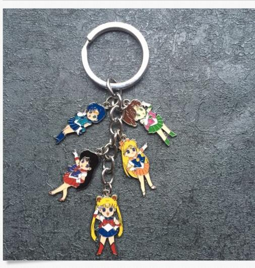 New 1 Set Cartoon Japanese Anime Sailor Moon Keychain Jewelry Accessories Key Chains Pendant Gifts Favors