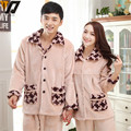 Lovers Thick Velvet Suit Soft Mink Plaid Pajamas Tracksuit Autumn And Winter Sleeping Coral Fleece Pajamas
