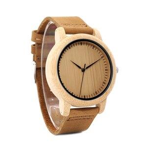 Image 3 - BOBO ptak WA15RU dorywczo antyczne okrągłe bambusa drewniane zegarek dla mężczyzn ze skórzanym paskiem pani zegarki Top marka luksusowe OEM