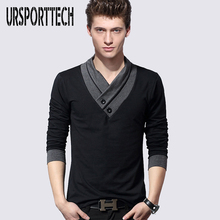 100% Cotton Mens Casual V-Neck Button Slim Muscle Tops Tee Long Sleeve T- Shirts Plus Size M-5XL slim fit v neck long sleeve button tee