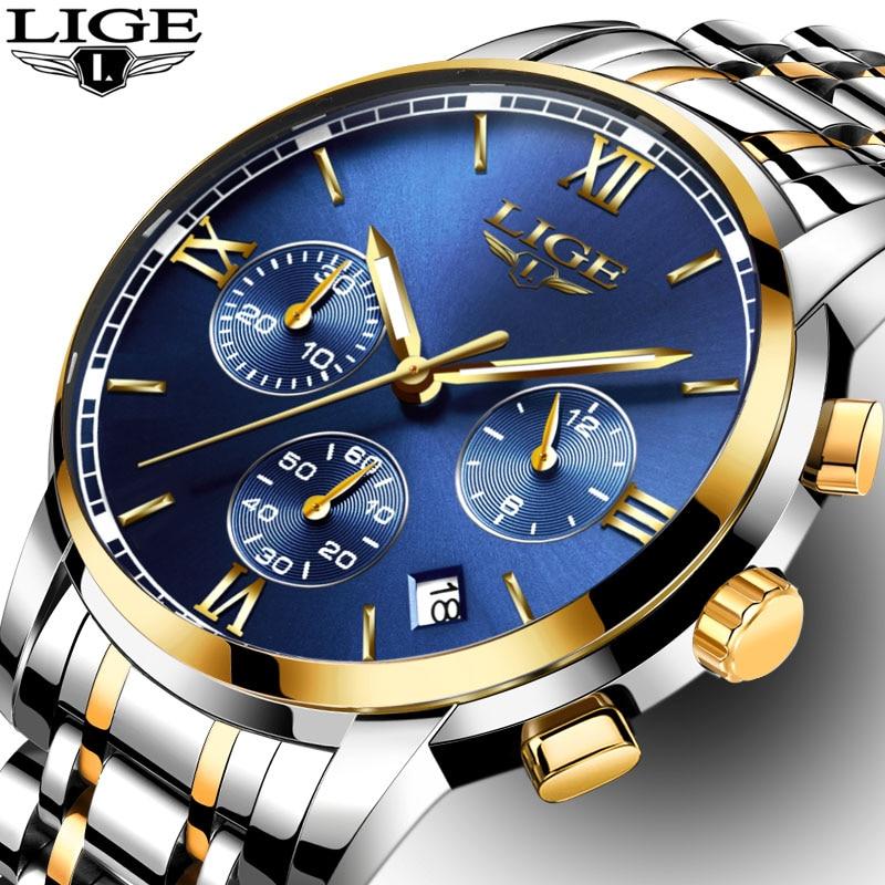 LIGE Relógios Homens Marca De Luxo de Negócios de Moda Homem relógio de Seis Pinos de Quartzo Esporte Relógio À Prova D' Água relógio de homens De Aço Cheio relógios de Pulso