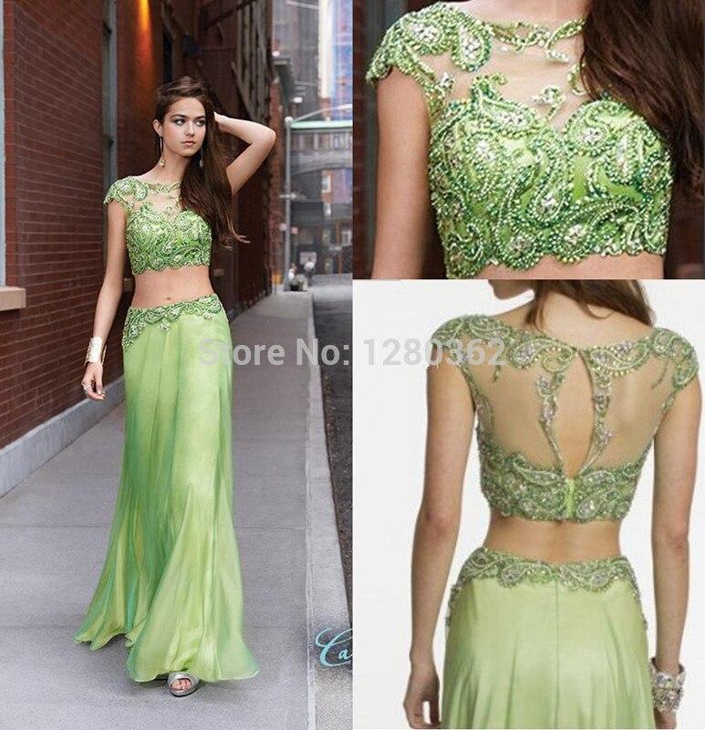 2016 Pieza Del Vestido Verde Vestidos de Baile Con Cuentas Sheer Cristales  Formal Largo Vestidos de