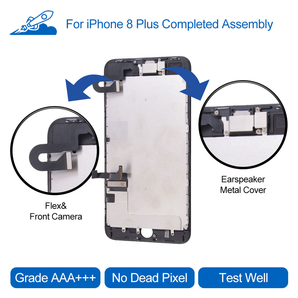 Elekworld Grade For iPhone 8 Plus LCD Display Touch Screen Digitizer Full Assembly With Frame Front