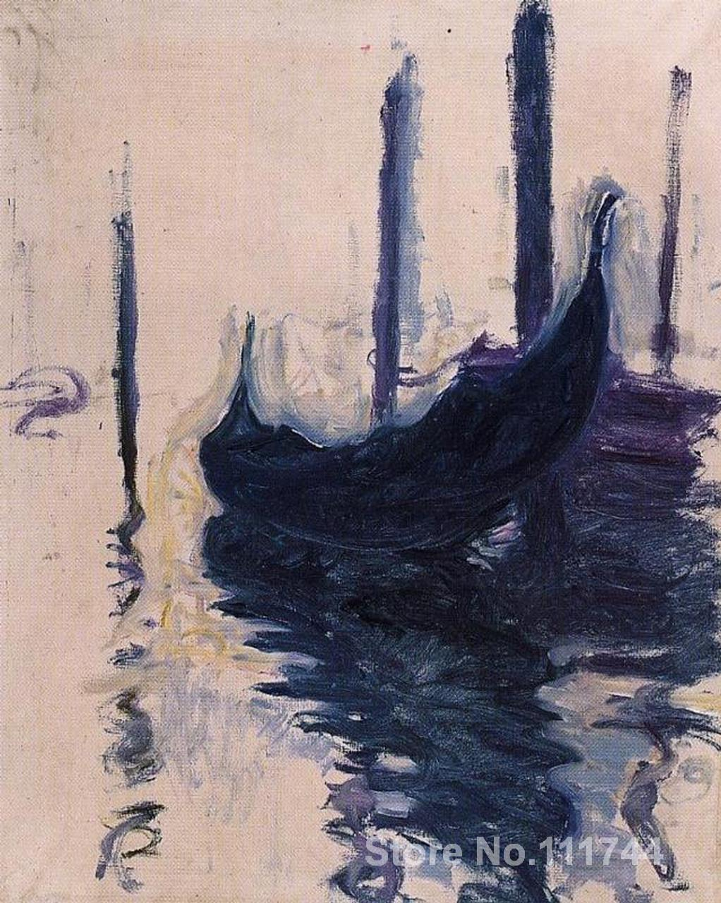 Modern art scenery gondola in venice claude monet paintings hand painted high quality