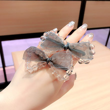 Korea Crystal Bead Yarn Bow Elastic Hair Bands  High Quality Accessories Rubber Band Gum For Ring Ties