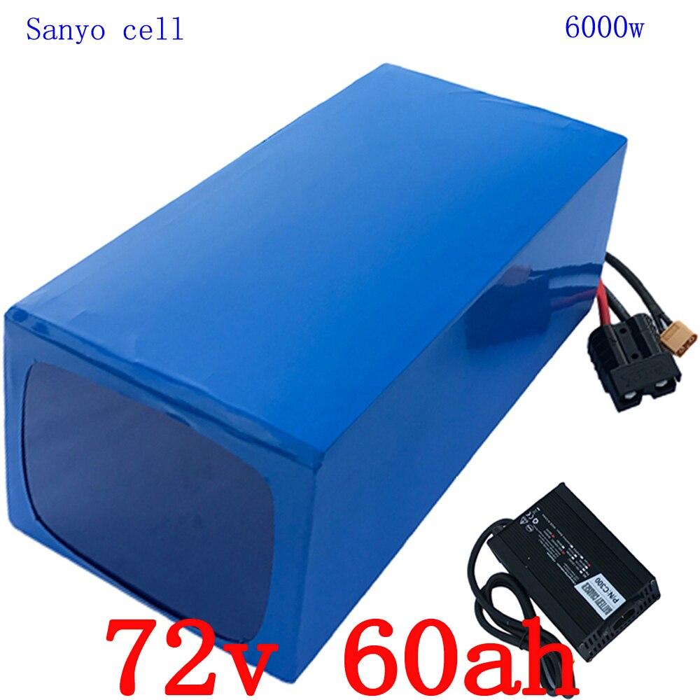 72 v 6000 w batteria Al Litio 72 v 60ah Motorino Batteria 72 v 60AH bici elettrica uso della batteria cellulare sanyo con 100A BMS + 84 v 5A caricatore