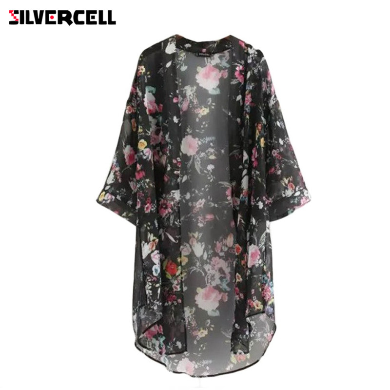 SILVERCELL Women Chiffon Cardigan Flowers Print Long Vintage Half Sleeve Chiffon Bikini cover Up Kimono Cardigan Coat Bathing