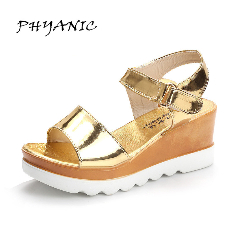 PHYANIC Gold Silver Wedges Sandals 2017 New Platform Casual Shoes Woman Summer Buckle Creepers Bling Flats shoes PHY4040 phyanic gold silver wedges sandals 2017 new platform casual shoes woman summer buckle creepers bling flats shoes phy4040