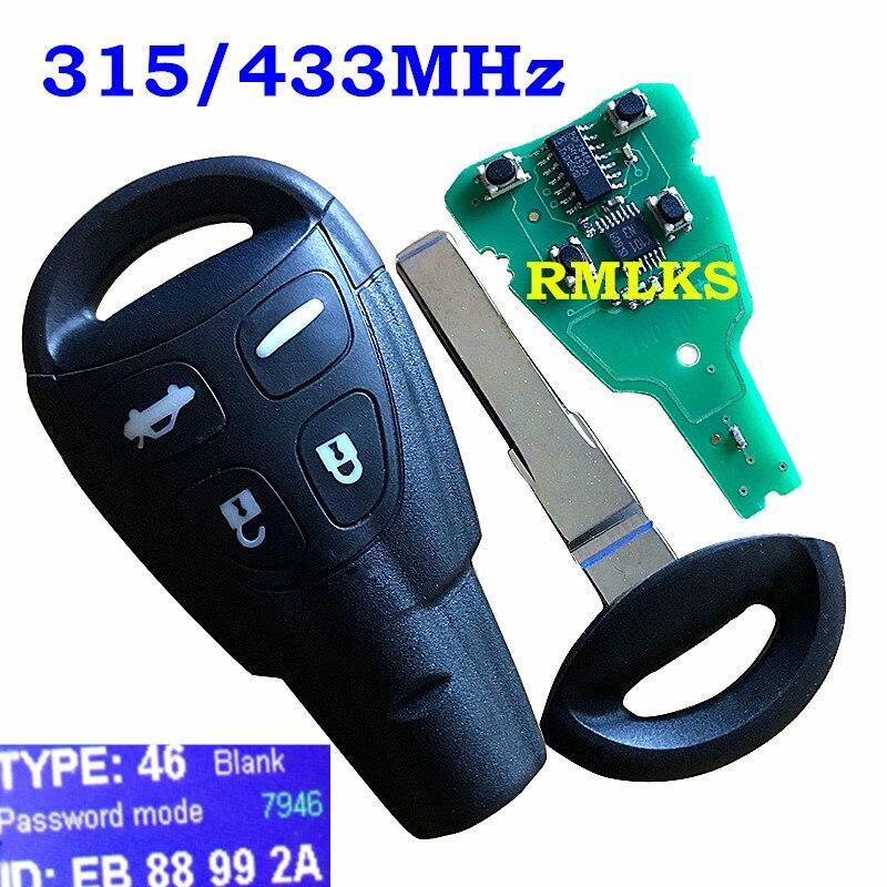 Top qualité 4 bouton avec Insert petite clé lame Smart porte-clés pour SAAB 93 95 9-3 9-5 télécommande 433 MHZ/315 Mhz