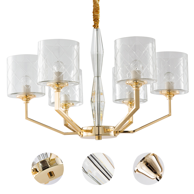 Modern European style new classical creative crystal glass chandelier dining room luxurious bedroom American all-bronModern European style new classical creative crystal glass chandelier dining room luxurious bedroom American all-bron