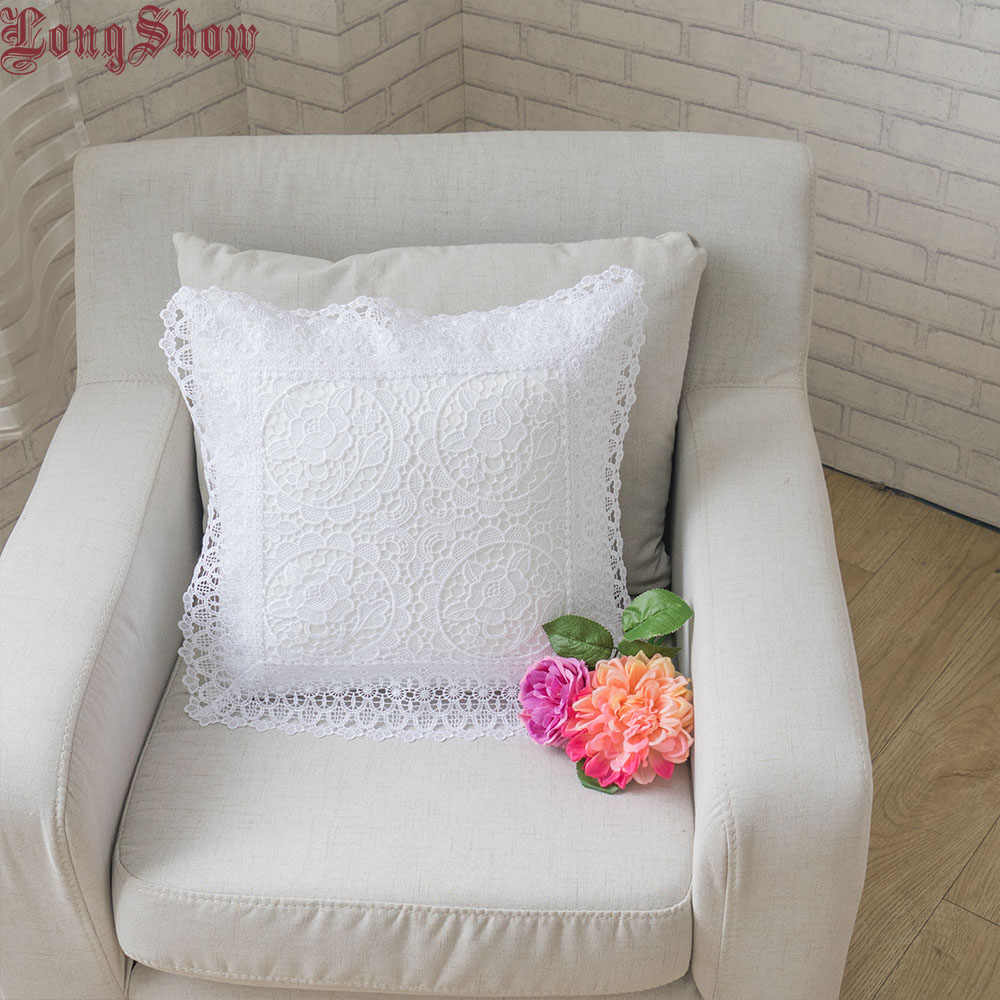 Longshow 45x45 ซม.หน้าแรกตกแต่งสีขาว Rose ปักหนาหมอน