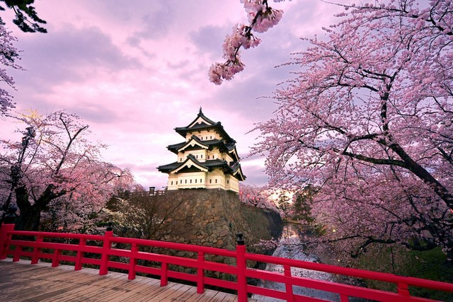 Japan Cherry Blossoms Temples Japanese Bridge Landscape Living Room Home Art Decor Wood Frame Fabric Poster