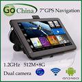 7 pulgadas capacitiva android gps navigator AV-IN A13 1.2 ghz, 512 g, 8 g, wifi, apoyo de doble cámara DVR gps de navegación del vehículo gps