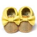 Romirus bowknot bling bling borla franja mocassim sapatos de couro do bebê para a criança infantil
