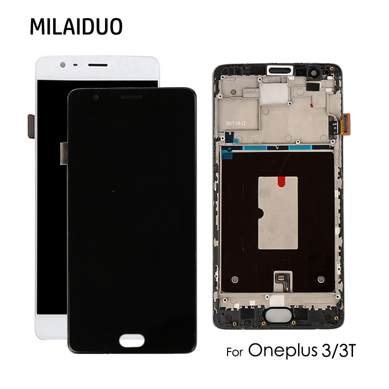 Super AMOLED Per Oneplus 3 3 T A3010 A3003 A3000 Display LCD Touch Screen Digitizer Assembly di Ricambio Nero Bianco con telaioSuper AMOLED Per Oneplus 3 3 T A3010 A3003 A3000 Display LCD Touch Screen Digitizer Assembly di Ricambio Nero Bianco con telaio