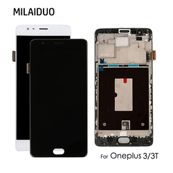TFT/AMOLED Per Oneplus 3 3T A3010 A3003 A3000 Display LCD Touch Screen Digitizer Assembly di Ricambio Nero Bianco con Telaio