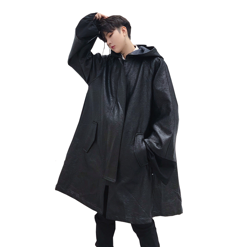 Male Loose Casual Punk Gothic Hip Hop Hooded Cloak Coat Robe Fashion Overcoat Men Long Leather Trench Coat Windbreaker Jacket