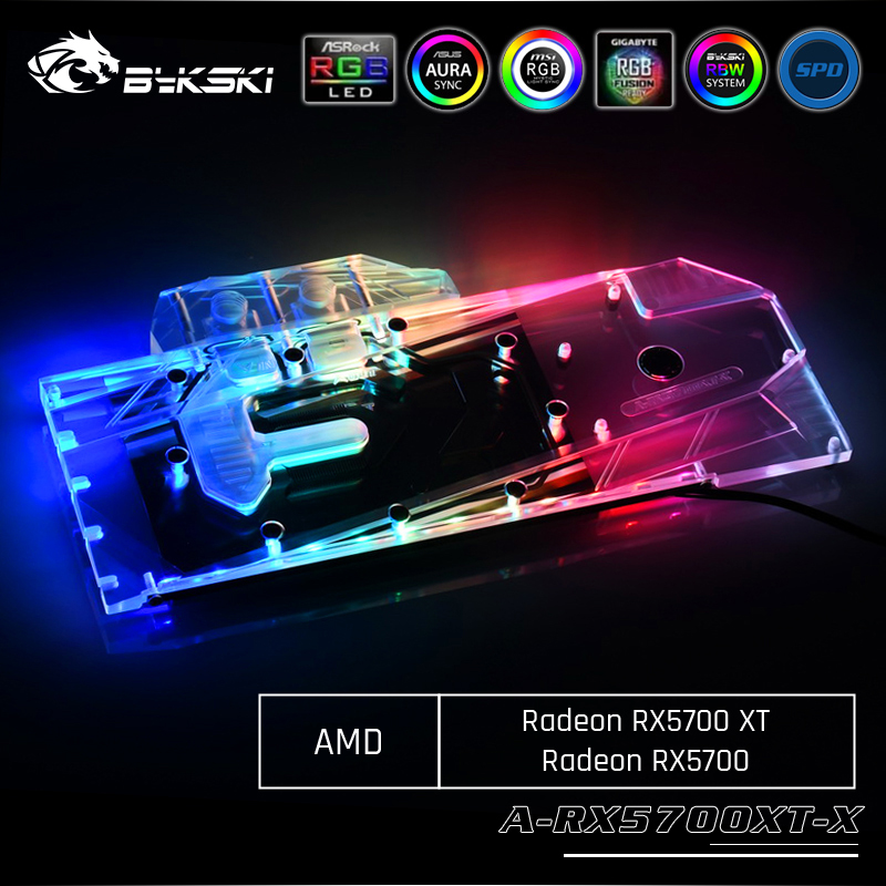 Bykski A-RX5700XT-X, Full Cover Graphics Card Water Cooling Block, For AMD Founder Edition Radeon RX 5700 XT/ RX 5700